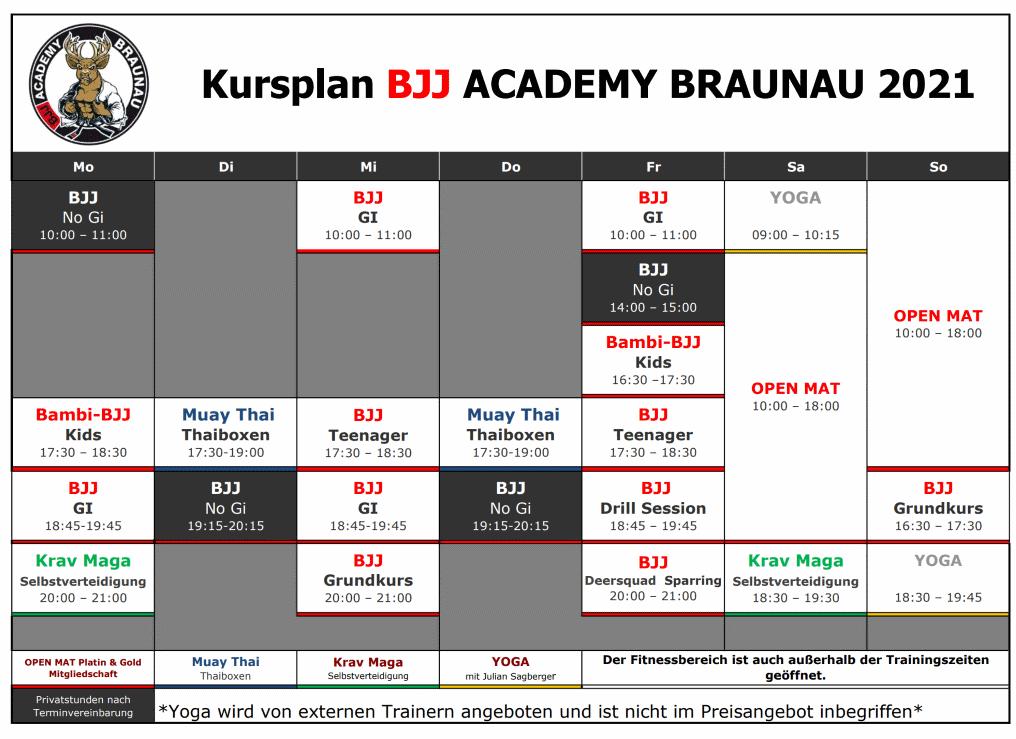 Stundenplan BJJ Academy